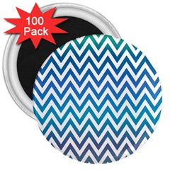 Blue Zig Zag Chevron Classic Pattern 3  Magnets (100 Pack)