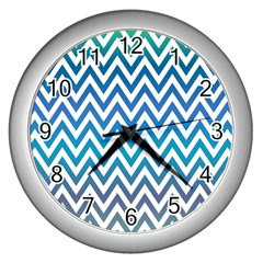 Blue Zig Zag Chevron Classic Pattern Wall Clocks (silver)  by Nexatart