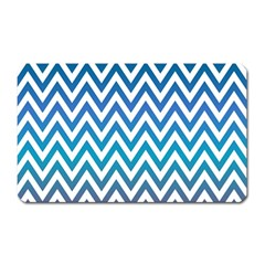 Blue Zig Zag Chevron Classic Pattern Magnet (rectangular) by Nexatart