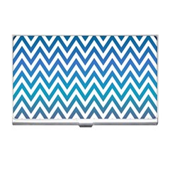 Blue Zig Zag Chevron Classic Pattern Business Card Holders