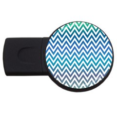 Blue Zig Zag Chevron Classic Pattern Usb Flash Drive Round (2 Gb)