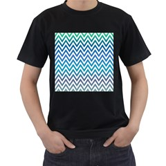 Blue Zig Zag Chevron Classic Pattern Men s T Shirt (black) (two Sided)