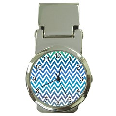Blue Zig Zag Chevron Classic Pattern Money Clip Watches by Nexatart