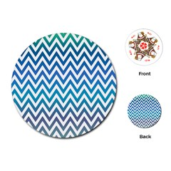 Blue Zig Zag Chevron Classic Pattern Playing Cards (round)