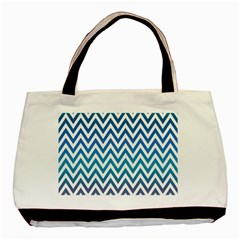 Blue Zig Zag Chevron Classic Pattern Basic Tote Bag