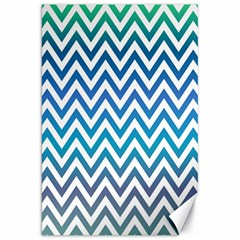 Blue Zig Zag Chevron Classic Pattern Canvas 20  X 30
