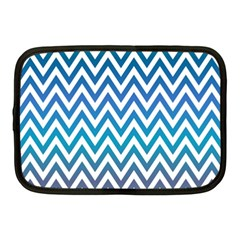 Blue Zig Zag Chevron Classic Pattern Netbook Case (medium)
