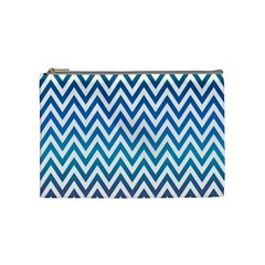 Blue Zig Zag Chevron Classic Pattern Cosmetic Bag (medium)