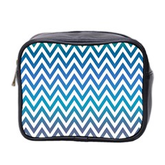 Blue Zig Zag Chevron Classic Pattern Mini Toiletries Bag 2 Side