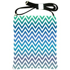 Blue Zig Zag Chevron Classic Pattern Shoulder Sling Bags by Nexatart