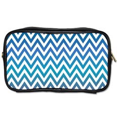 Blue Zig Zag Chevron Classic Pattern Toiletries Bags by Nexatart