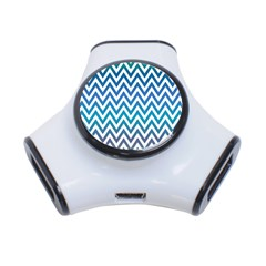 Blue Zig Zag Chevron Classic Pattern 3 Port Usb Hub