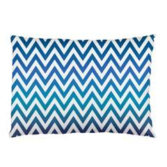 Blue Zig Zag Chevron Classic Pattern Pillow Case (two Sides)