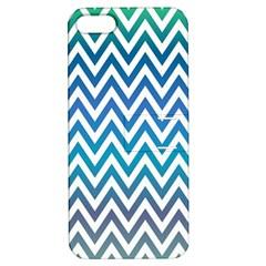 Blue Zig Zag Chevron Classic Pattern Apple Iphone 5 Hardshell Case With Stand by Nexatart