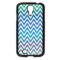 Blue Zig Zag Chevron Classic Pattern Samsung Galaxy S4 I9500/ I9505 Case (black) by Nexatart