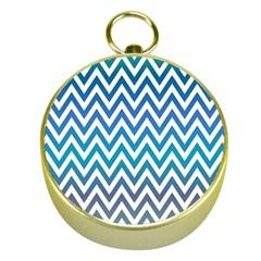 Blue Zig Zag Chevron Classic Pattern Gold Compasses