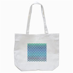 Blue Zig Zag Chevron Classic Pattern Tote Bag (white)