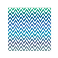Blue Zig Zag Chevron Classic Pattern Small Satin Scarf (square) by Nexatart