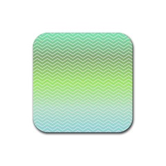 Green Line Zigzag Pattern Chevron Rubber Square Coaster (4 Pack)  by Nexatart