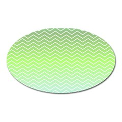 Green Line Zigzag Pattern Chevron Oval Magnet by Nexatart