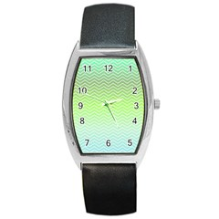 Green Line Zigzag Pattern Chevron Barrel Style Metal Watch