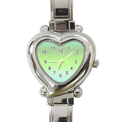 Green Line Zigzag Pattern Chevron Heart Italian Charm Watch by Nexatart
