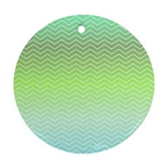 Green Line Zigzag Pattern Chevron Round Ornament (two Sides)