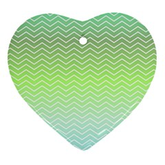 Green Line Zigzag Pattern Chevron Heart Ornament (two Sides)