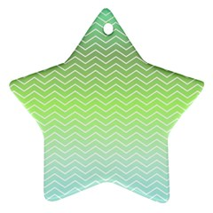 Green Line Zigzag Pattern Chevron Star Ornament (two Sides)