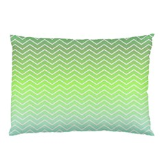 Green Line Zigzag Pattern Chevron Pillow Case by Nexatart