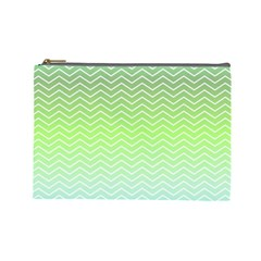 Green Line Zigzag Pattern Chevron Cosmetic Bag (large)