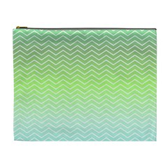 Green Line Zigzag Pattern Chevron Cosmetic Bag (xl)