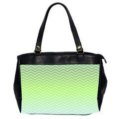 Green Line Zigzag Pattern Chevron Office Handbags (2 Sides)