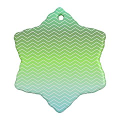 Green Line Zigzag Pattern Chevron Ornament (snowflake) by Nexatart