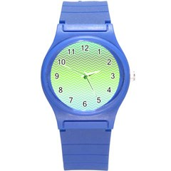Green Line Zigzag Pattern Chevron Round Plastic Sport Watch (s)