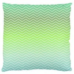 Green Line Zigzag Pattern Chevron Large Cushion Case (two Sides) by Nexatart
