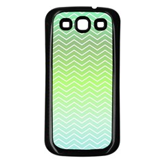 Green Line Zigzag Pattern Chevron Samsung Galaxy S3 Back Case (black)