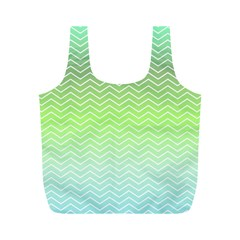 Green Line Zigzag Pattern Chevron Full Print Recycle Bags (m)