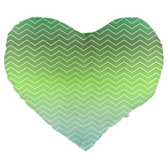 Green Line Zigzag Pattern Chevron Large 19  Premium Flano Heart Shape Cushions