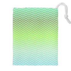 Green Line Zigzag Pattern Chevron Drawstring Pouches (xxl) by Nexatart
