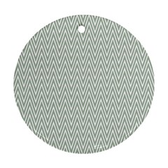 Vintage Pattern Chevron Round Ornament (two Sides)