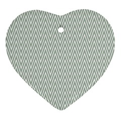 Vintage Pattern Chevron Heart Ornament (two Sides)