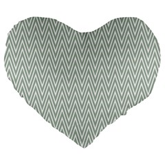 Vintage Pattern Chevron Large 19  Premium Flano Heart Shape Cushions