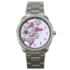 Bouquet Flowers Plant Purple Sport Metal Watch