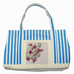 Bouquet Flowers Plant Purple Striped Blue Tote Bag