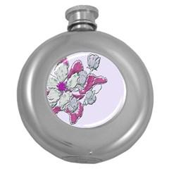 Bouquet Flowers Plant Purple Round Hip Flask (5 Oz) by Nexatart