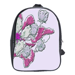 Bouquet Flowers Plant Purple School Bag (large)