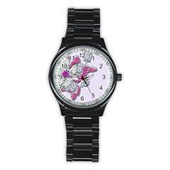 Bouquet Flowers Plant Purple Stainless Steel Round Watch