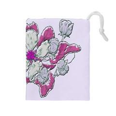 Bouquet Flowers Plant Purple Drawstring Pouches (large)