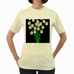 Bouquet Geese Flower Plant Blossom Women s Yellow T Shirt